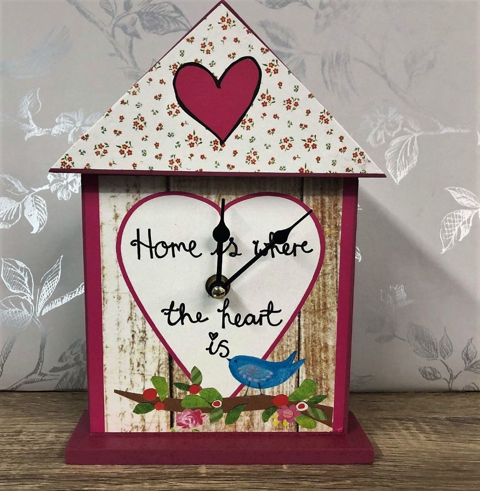 Home Pink Floral Bird House Clock